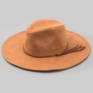 Braided Tassel Faux Suede Hat Tan